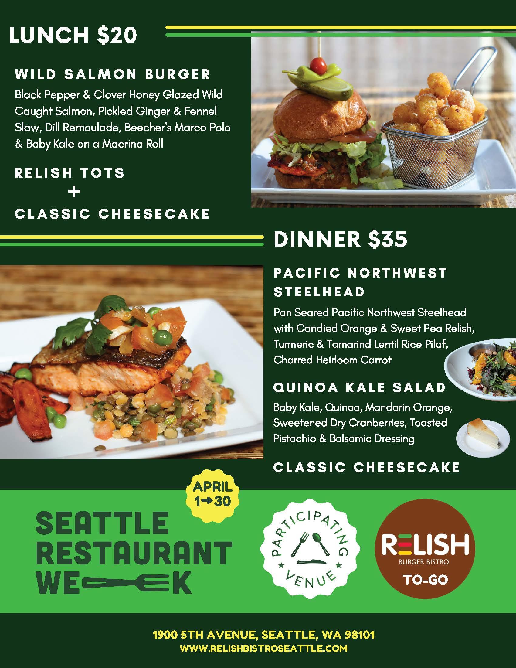 Seattle Restaurant Week at Relish Bistro Menu